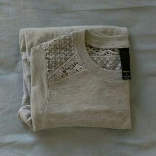 Factorie Grey Lace Shoulder Sweater