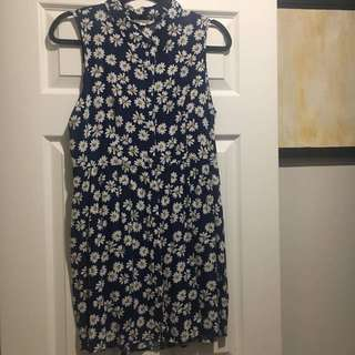 Navy Blue Floral Printed Dress