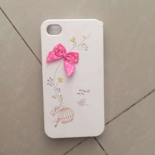 Iphone 4 Case Mobile Casing White Flower Pink Bow
