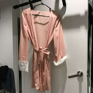 Cotton on pink lace nighty robe