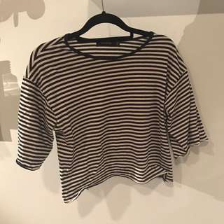 Navy Striped Crop Top