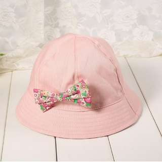 Baby Girl Cotton Sun Hat With Removable Bowknot(Pink)