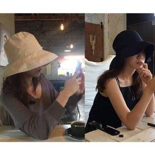 韓國遮臉漁夫帽 黑/米色