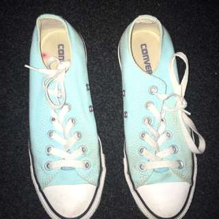 Mint Green / Blue Low Top Converse