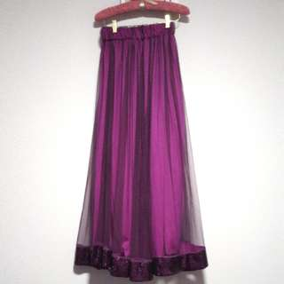 Beautiful Purple Tulle Skirt With Sequins