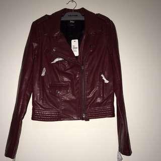sportsgirl red leather jacket