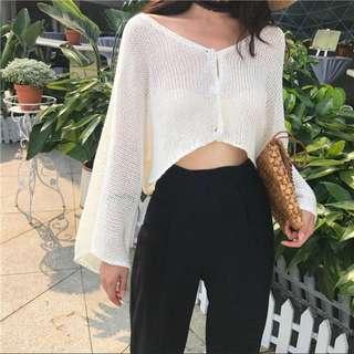 [PO] Knit Button Crop In Cream