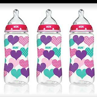 NUK Hearts Baby Bottle with Perfect Fit Nipple, 10 Ounces, 3 Pack