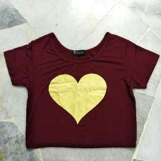 Maroon Crop Top With Yellow Glitter Heart