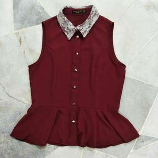 FOS Maroon Peplum Short With Lace Collar