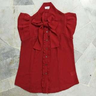 Padini Ruffle Short Sleeves Red Shirt