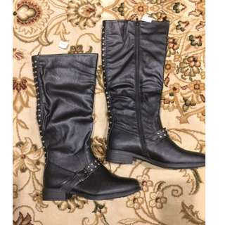 Knee High Studded Flat Boots - F/S
