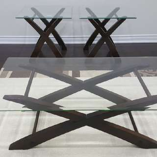 Glass Top Coffee Table + 2 Side Tables