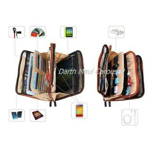 BUBM (Be Unique Be Myself) Double Sided IPAD, Tab, TAB 8.4, Galaxy Note 10.1,mobile phone and cables organiser EDC soft pouch