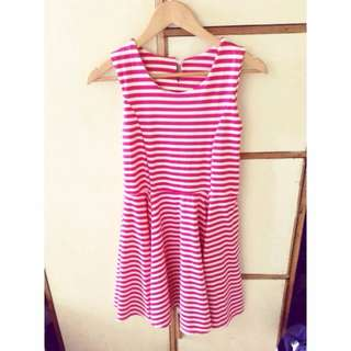 Casual Stripe Dress Pink and White