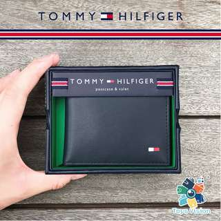 全新 Tommy Hilfiger Men's Leather Wallet 真皮銀包, 灰藍色