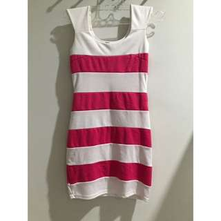 White & Pink striped dress