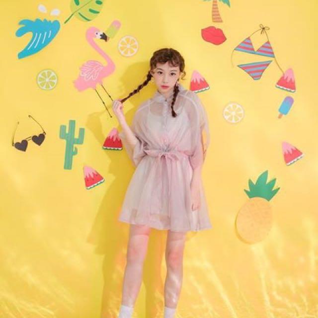 粉紅 雪紡 寬袖 洋裝