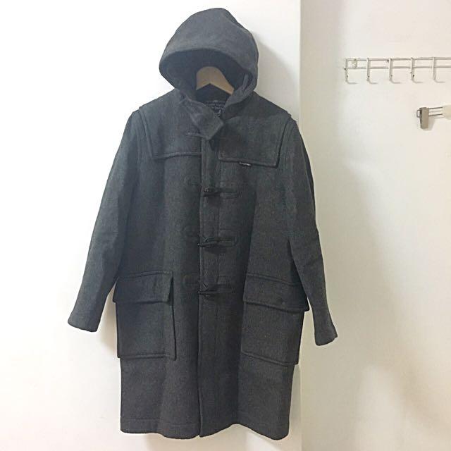 [含運] 英國製 Gloverall 牛角扣連帽大衣外套 二手古著 紳士西裝必備