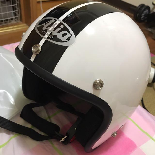 Asia 黑白條 復古安全帽 全新(僅試戴