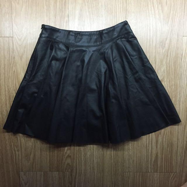 Black Pleather Skater Skirt
