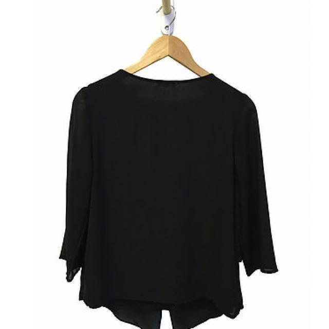 Black Sheer Panel Blouse (10)