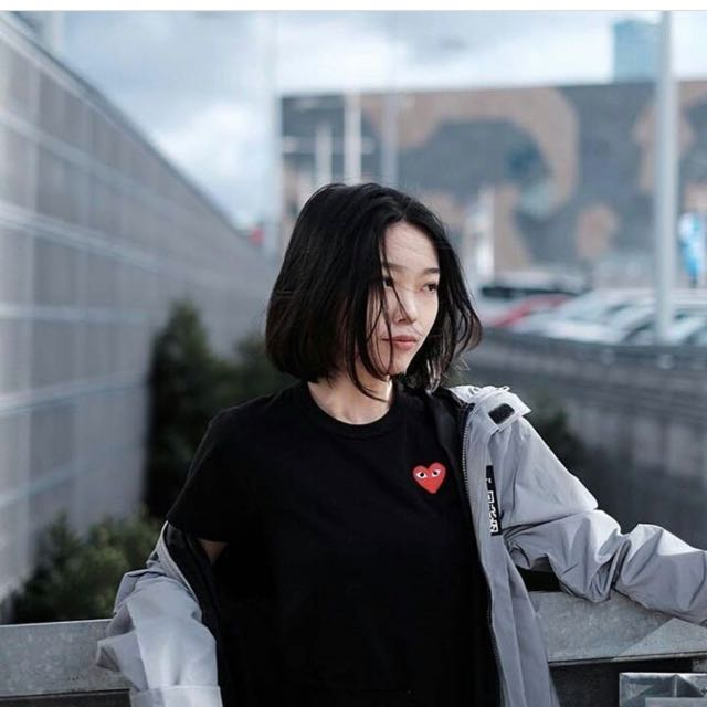 Black Shirt With Red Heart Patch