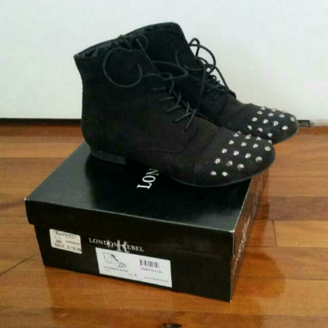 Black Suede Spike Boots