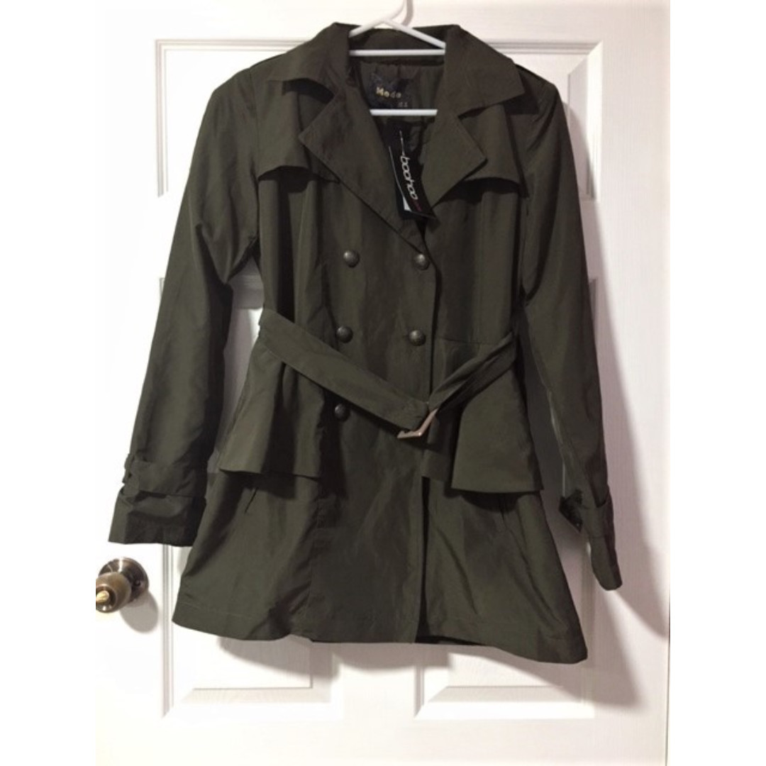 Boohoo Khaki Military Mac Trench - Postage included in price.