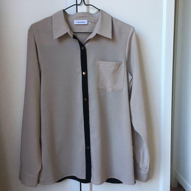 CALVIN KLEIN Blouse Button Down Shirt - Size S