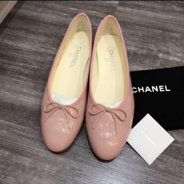 pink chanel ballet flats