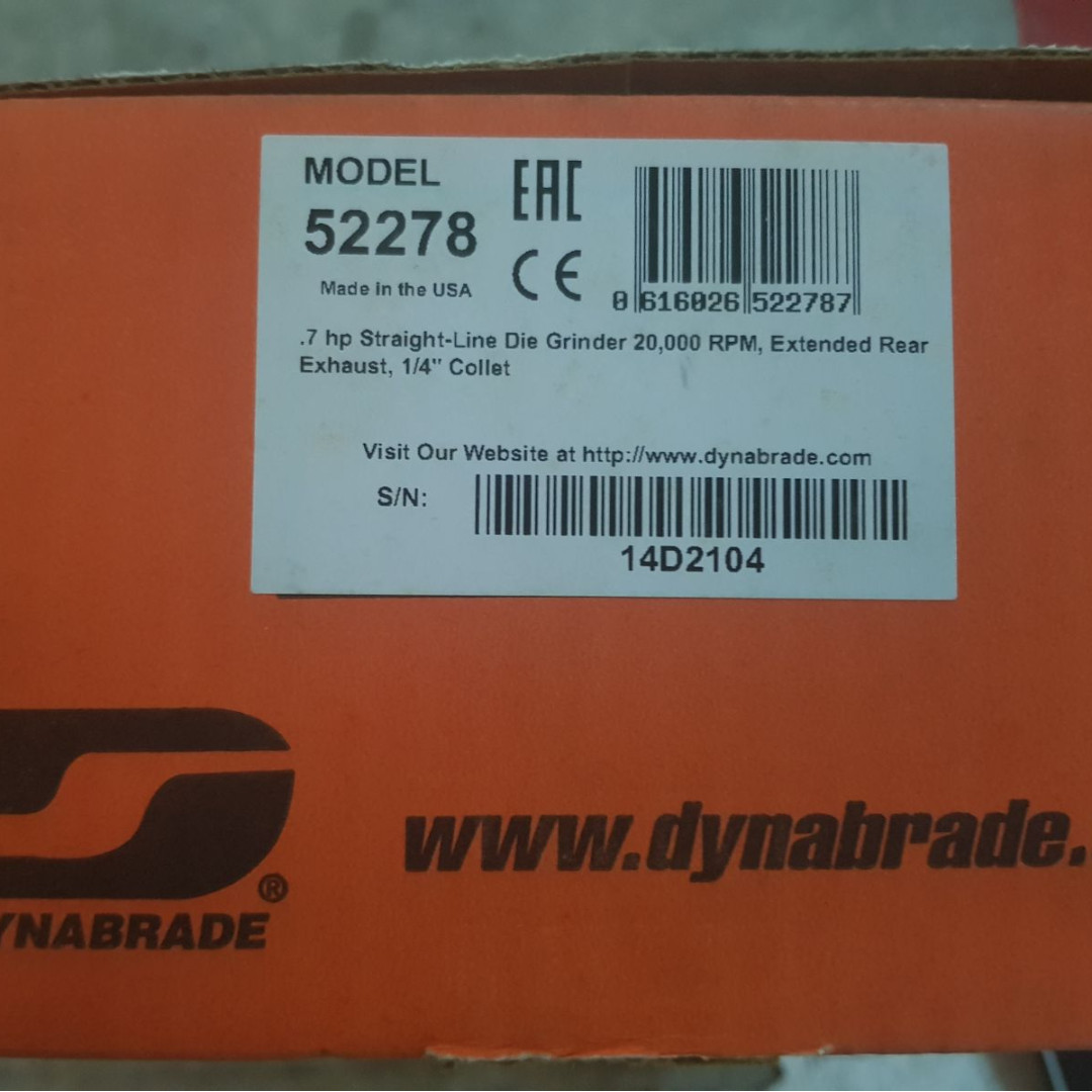 Dynabrade 52278 Straight-Line Die Grinder, 20000 RPM, Extended Rear Exhaust, 1/4
