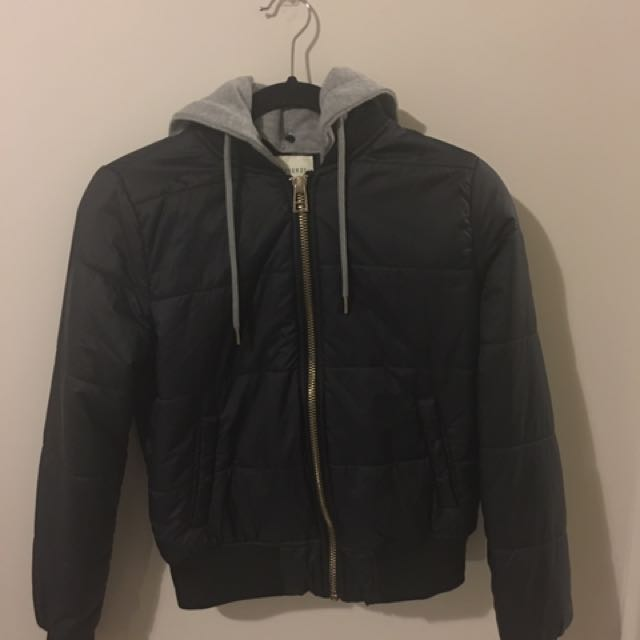 Forever 21 Bomber Jacket With Detachable Hood