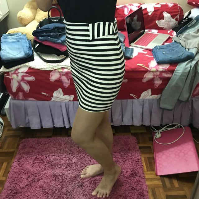 Forever 21 High Waist Skirt In Stripes