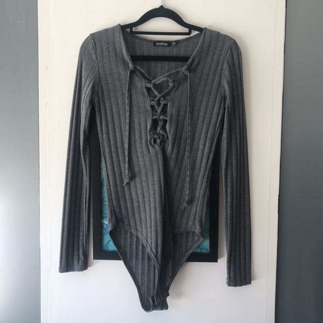 FREE POSTAGE Brand New Grey Knit Tie Up Bodysuit