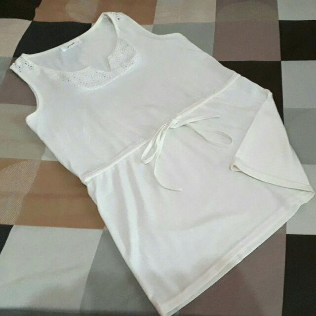 Gaudi Offwhite Tank Top Shirt Dress