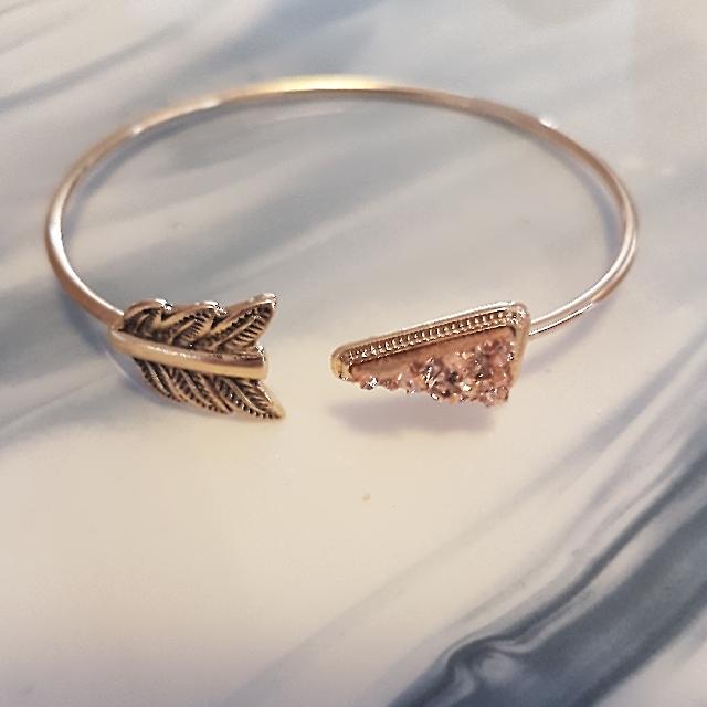 Gold & Soft Pink Druzy Arrow Bangle