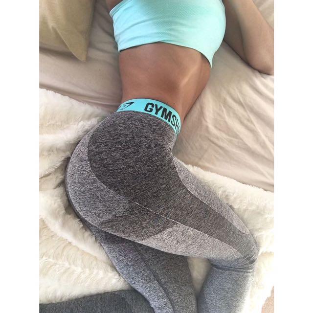 3181f085a7298 Gymshark Flex Leggings - Charcoal Marl/ Pale Turquoise, Women's ...