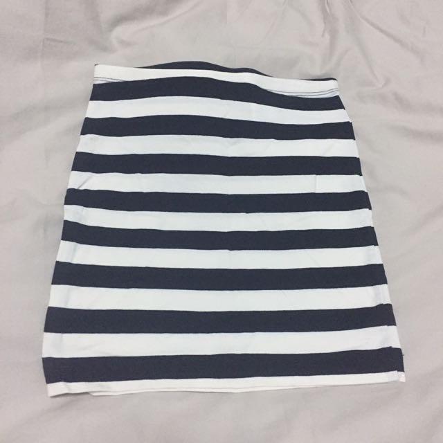H&M Basic Cotton Striped Skirt