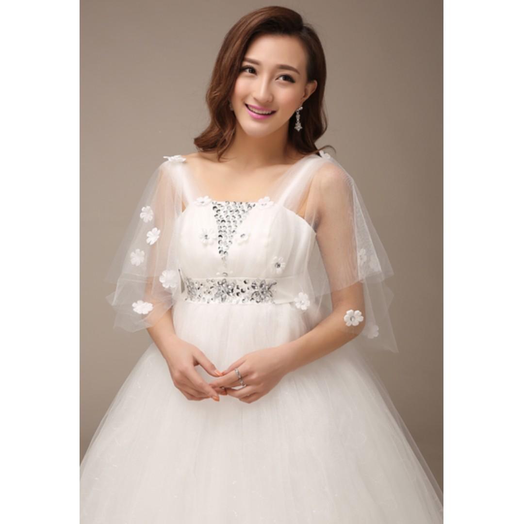 886621e13f3cc Illusion Shoulder Lace Cape White Wedding Dress (Cover Tummy Dress ...