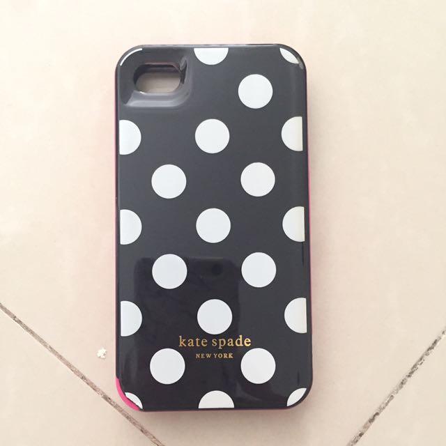Iphone 4 Casing Mobile Case Kate Spade Polkadot Black