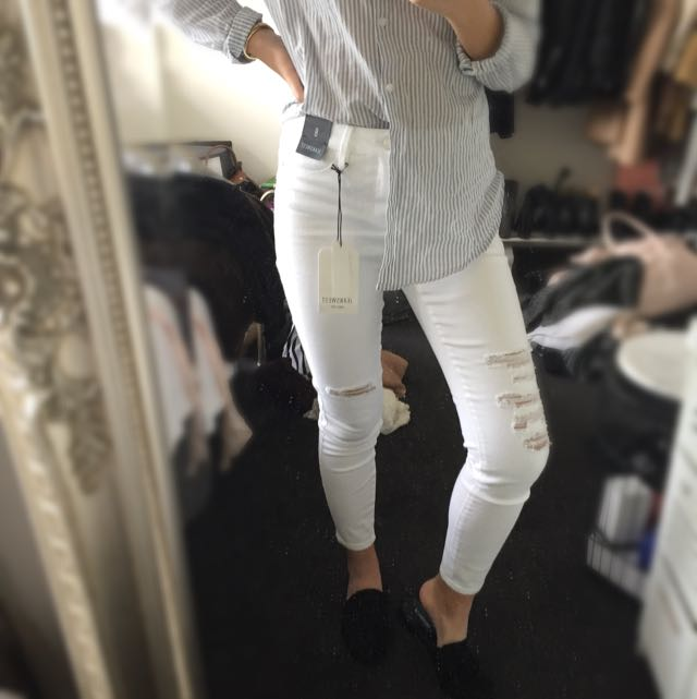 Jeanswest White Distressed Jeans