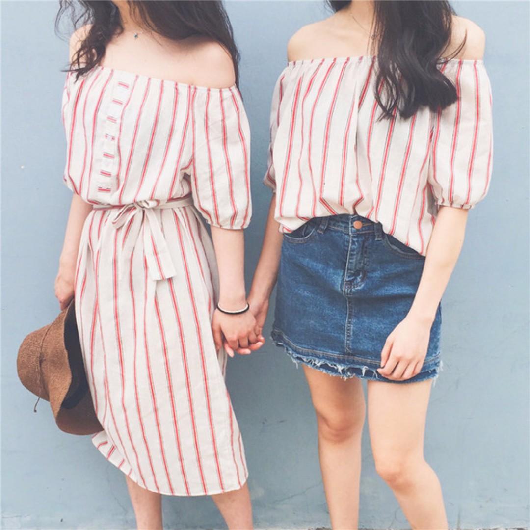 40e04fc248737 Korean BFF outfit Red Striped Off Shoulder Dress Off Shoulder Top ...