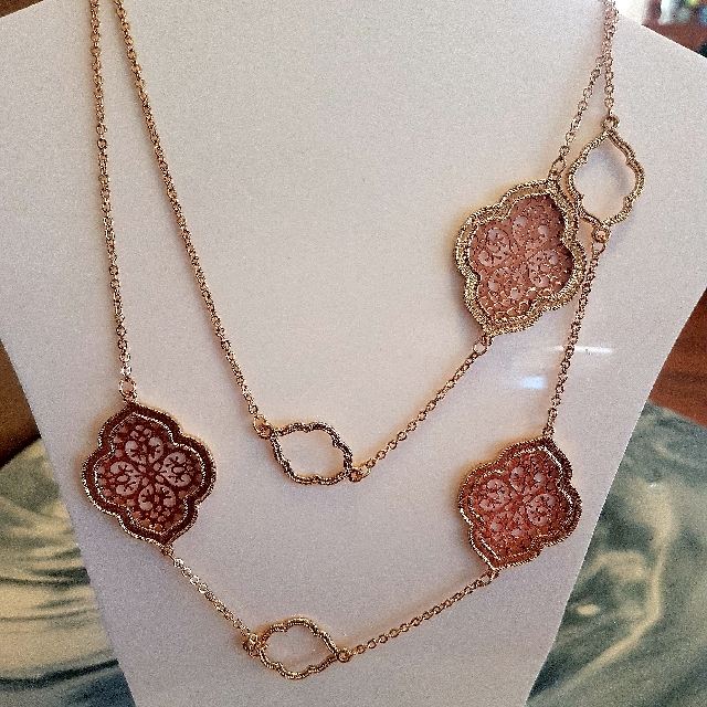Ladies Gold & Rose Gold Long Necklace