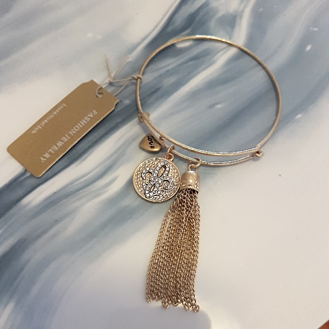 Ladies Gold Bangle With Tassels And Charms