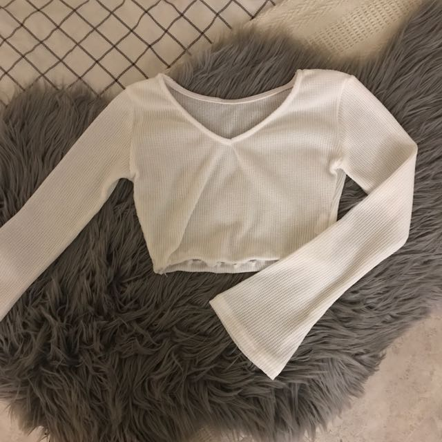 Long Sleeved Crop Top White