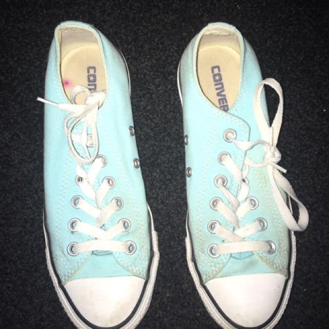 Mint Green / Blue Low Top Converse