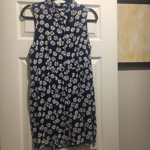 Navy Blue Floral Printed Dress