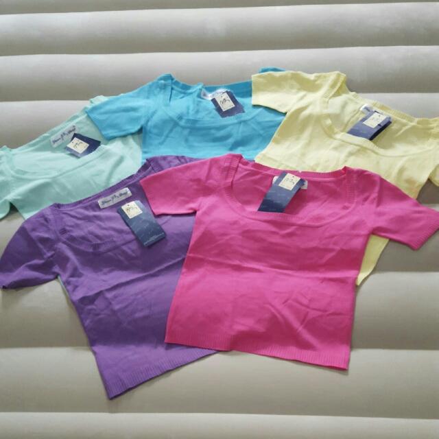 Pastel Color Knit Crop Top