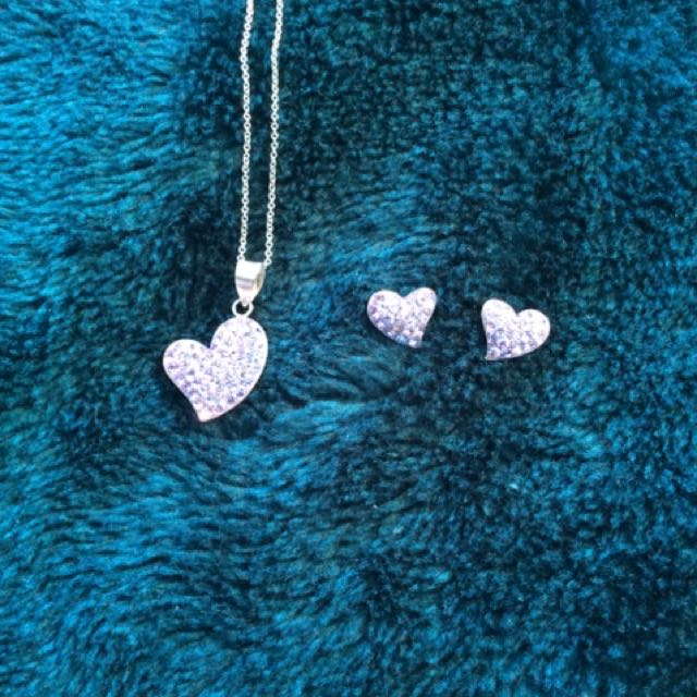 Purple Heart Necklace And Earings Set